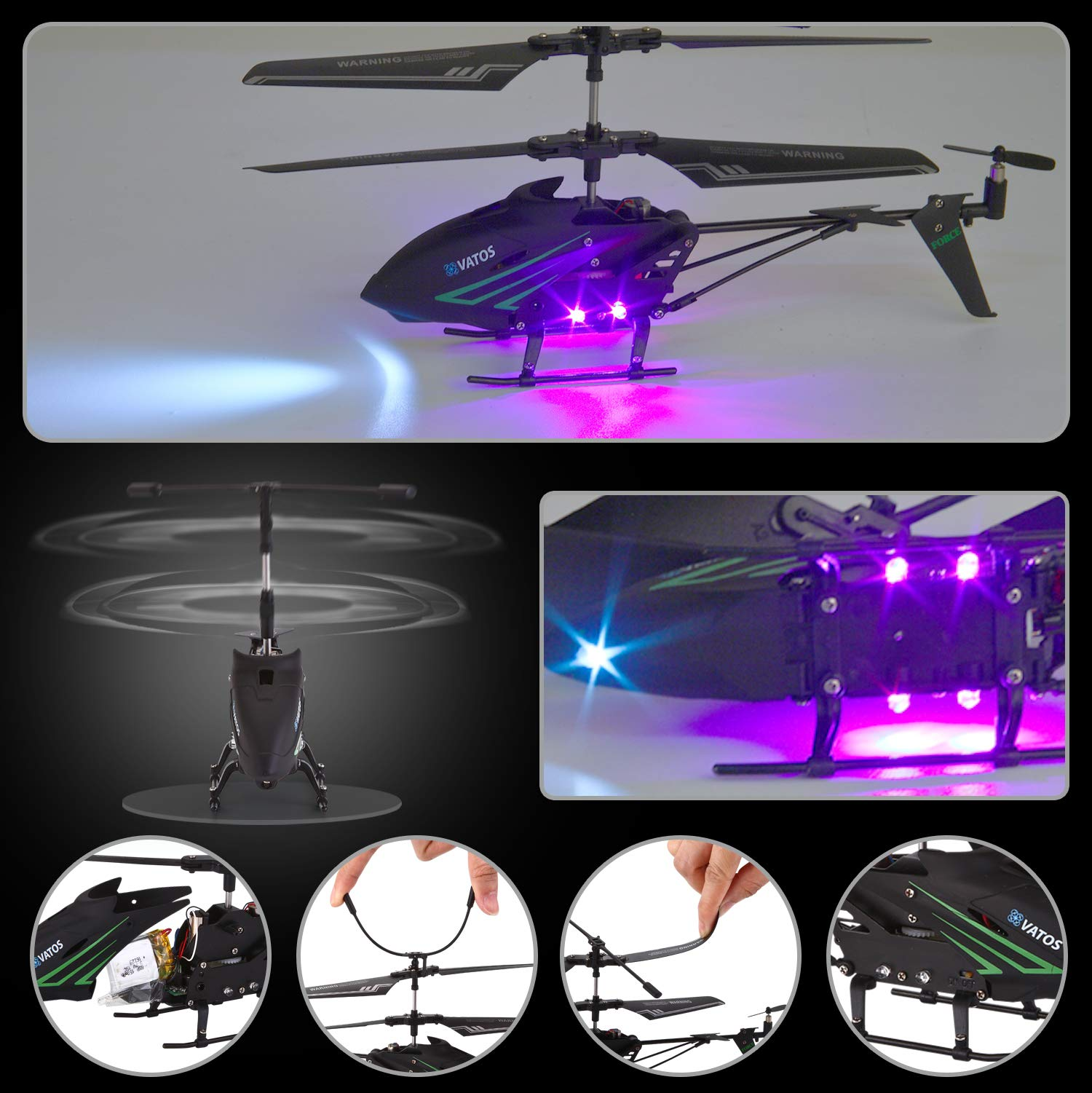 RC Helicopter, Remote Control Helicopter with Gyro and LED Light 3.5HZ Channel Alloy Mini Helicopter Remote Control for Kids & Adult Indoor Outdoor Micro RC Helicopter Best Helicopter Toy Gift by VATOS (Image #3)