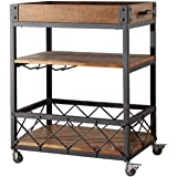 INDIAN DECOR 45471 Black 28'' Rectangular Kitchen Cart with MDF Wood Top and 3 Tiered Storage Area