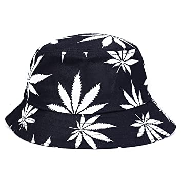 03698ae3d1e Buy Foldable Bucket Hat Sunhat Bonnie Caps Summer Hats for Women and Men  (White Maple Leaves) Online at Low Prices in India - Amazon.in