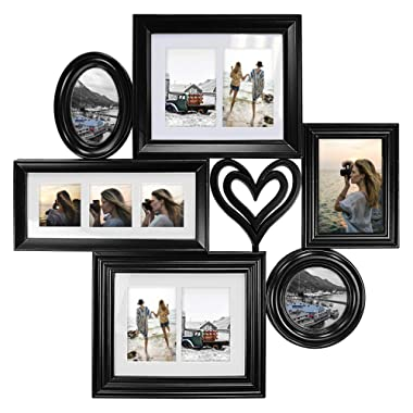 Hello Laura - Photo Frame Love Shape 24x24 Black Picture Frame - Made to Display Pictures 4x6 3x3 5x7 - Wide Molding - Multi Selfie Gallery Collage Wall Hanging Wall Mounting Design
