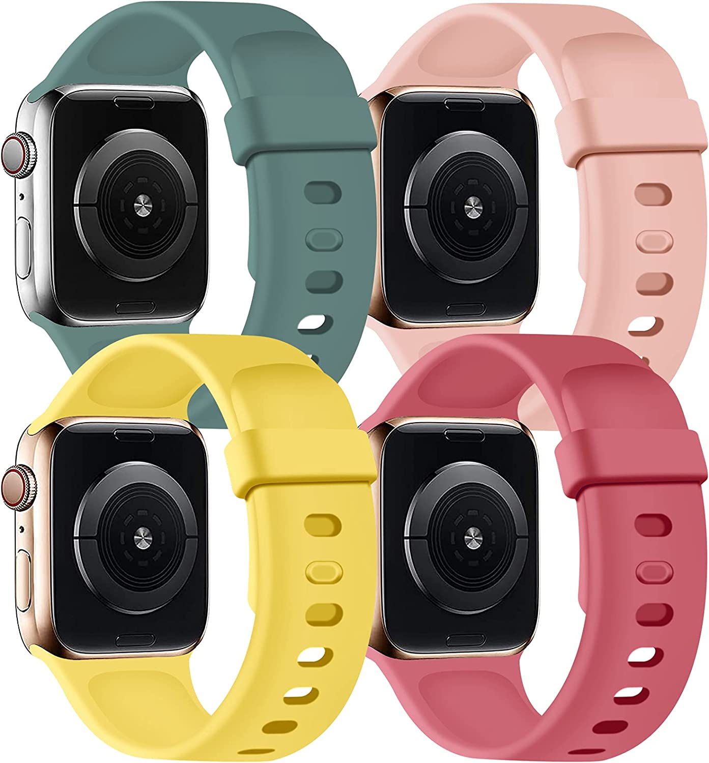 SVISVIPA Sport Bands Compatible with Apple Watch Bands 42mm 44mm, Soft Silicone Wristbands Women Men Replacement Strap for iWatch Series SE/6/5/4/3/2/1,Catus/Vimtage Rose/Pink/Yellow
