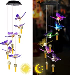 ZHANGPUGAVIN Wind Chime,LED Solar Butterfly Wind Chimes for Outside, Gifts for Mom Color-Changing Hanging Mobile Wind Chime Outdoor Waterproof LED Solar Light Porch Deck Garden Patio Decor