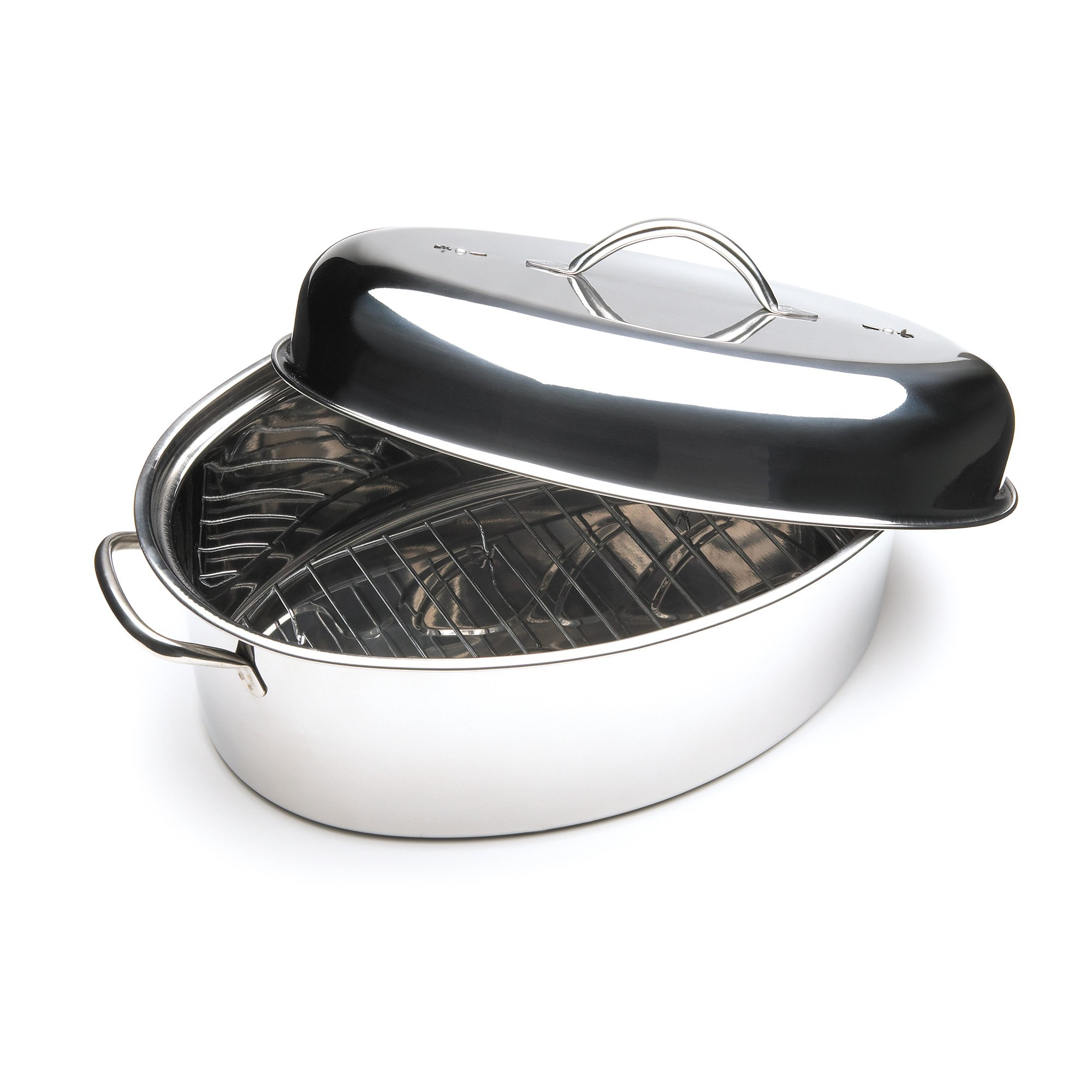 Fox Run 0171 Oval Roaster Set, Stainless Steel, 10-Quart by Unknown