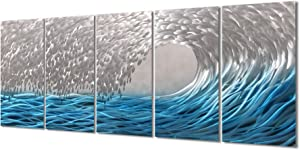 "Yihui Arts Blue Metal Wall Art, Large Scale Decor in Abstract Ocean Design, 3D Wall Art for Modern and Contemporary Decor, 5-Panels Measures 24""x 64"", Great for Indoor and Outdoor"