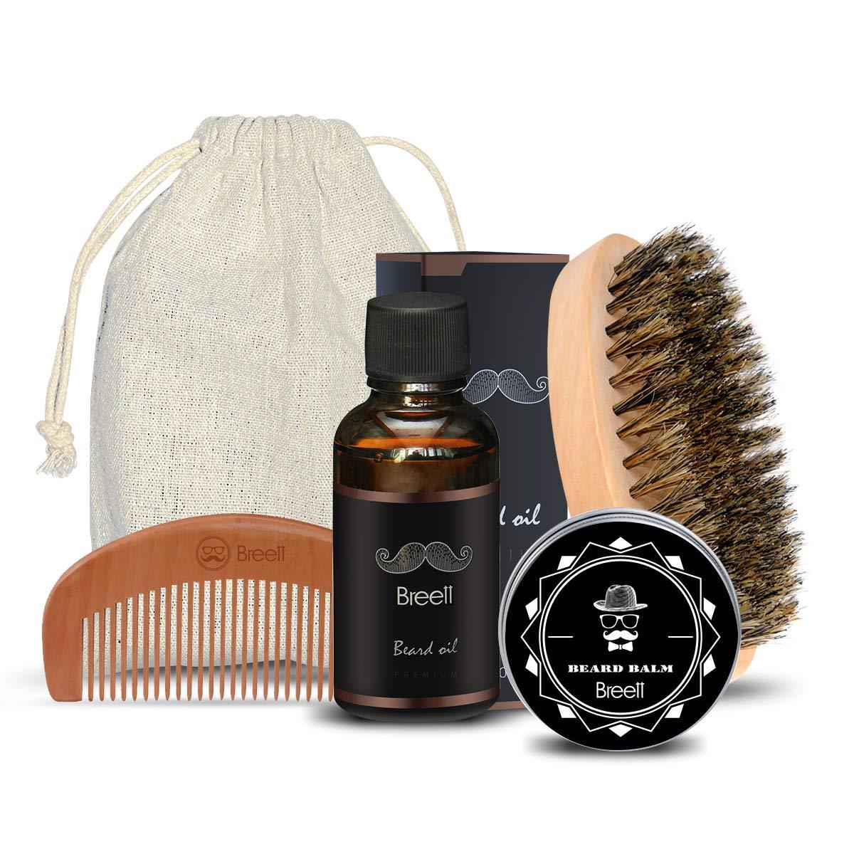 Kit Barbe pour la Barbe Beauté, une Brosse Barbe en soie de porc, une Peigne de Barbe en bois naturel pur, une Huile de Barbe et une Pommade de Barbe product image