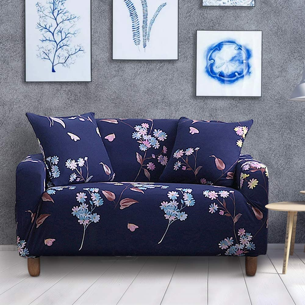 """Hivexagon Sofa Slipcover Stretch Anti-Slip Printed Loveseat Cover Furniture Protector with Two Pillowcase Fits 57"""" - 72"""" Couch, Ideal for Home, Living Room, Office and Hotel Decor"""