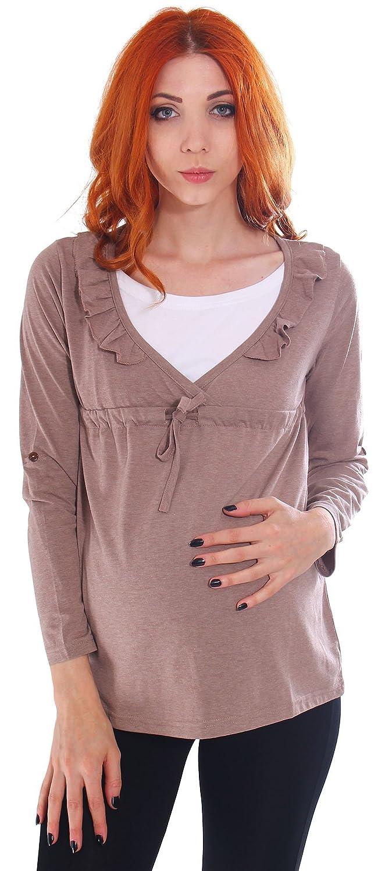 f341f30193cb1 Simplicity Women's Gathered Long Sleeve Maternity Nursing Tunic Blouse,  Coffee at Amazon Women's Clothing store: Fashion Maternity Blouses