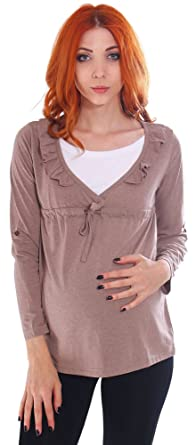 2fafa303119 Image Unavailable. Image not available for. Color: Simplicity Women's  Gathered Long Sleeve Maternity Nursing Tunic Blouse ...