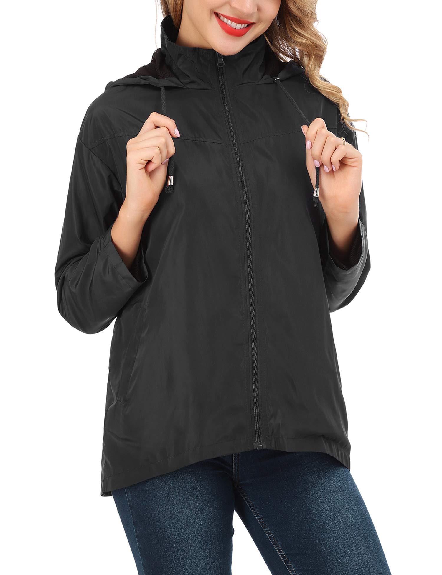 FISOUL Women's Waterproof Rain Jacket Lightweight Raincoat Active Outdoor Hooded Windbreaker Jacket S-XXL(Black,X-Large)