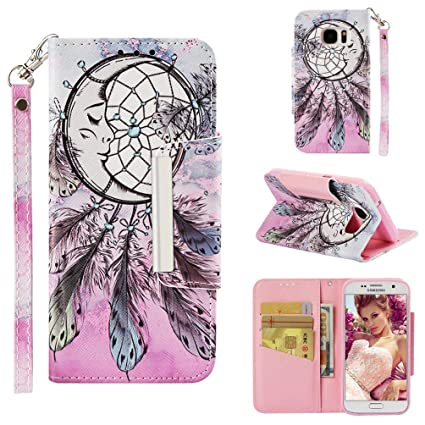Firefish Case for Galaxy S7,Durable PU Leather Kickstand 3D Printing Wallet Case with Card Slot Inner Soft TPU Bumper with Magnetic Closure & Wrist ...