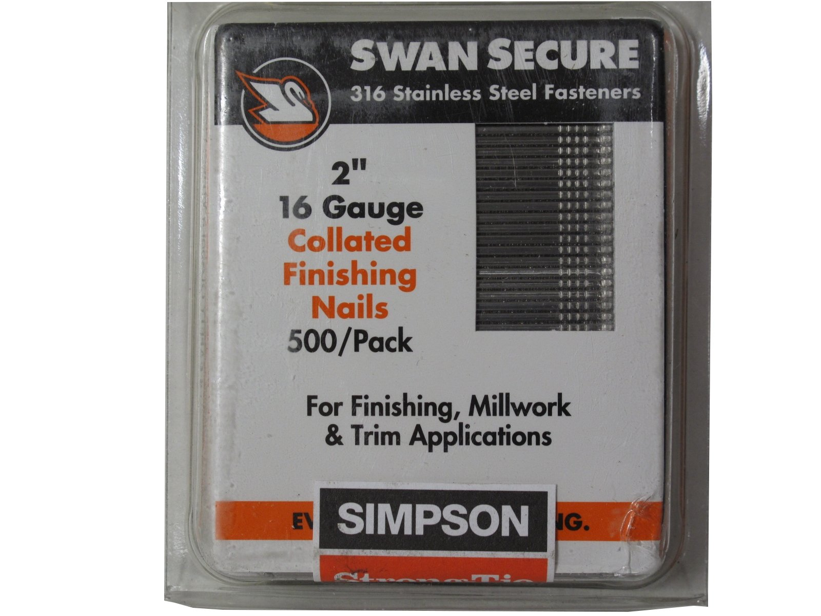 Simpson Swan Secure T16N200FNB 16-Gauge Straight 316 Stainless Steel 2-Inch Finish Nails, 500 Per Box