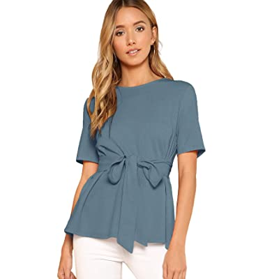 ROMWE Women's Casual Self Tie Summer Round Neck Short Sleeve Blouse Tops at Women's Clothing store