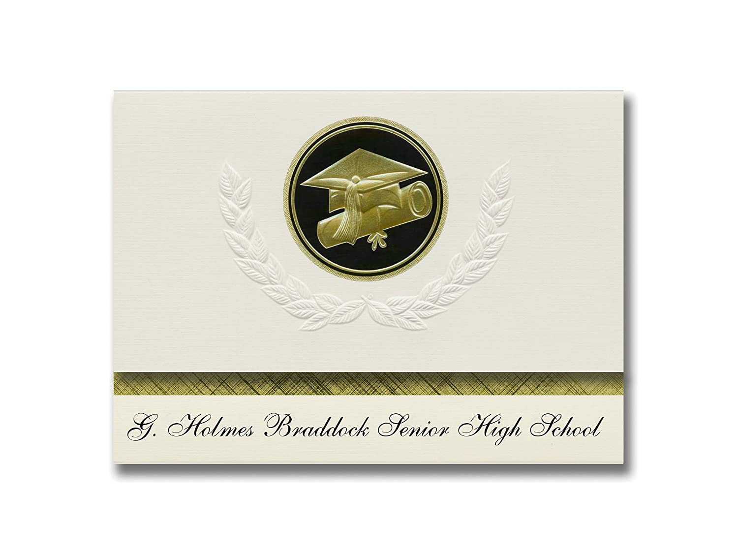 Signature Announcements G. Holmes Braddock Senior High School (Miami, FL) Graduation Announcements, Presidential Elite Pack 25 Cap & Diploma Seal. Black & Gold.