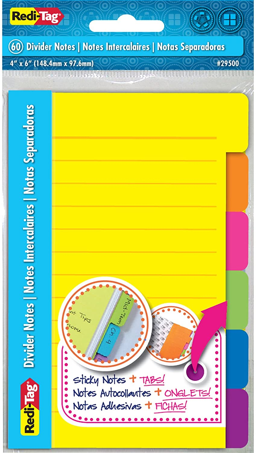 10,2/x 15,2/cm colori fluo assortiti 2 Pack redi-tag Divider Sticky notes 60/Ruled notes