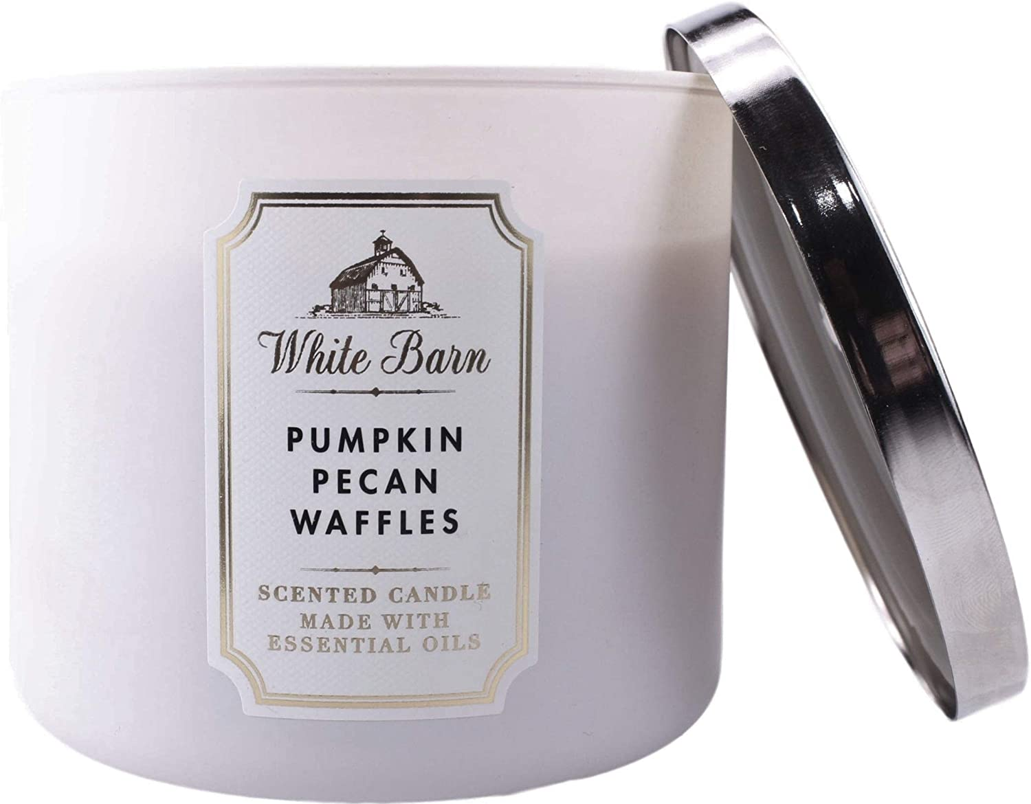 White Barn Bath and Body Works Pumpkin Pecan Waffle 3 Wick Scented Candle 14.5 Ounce