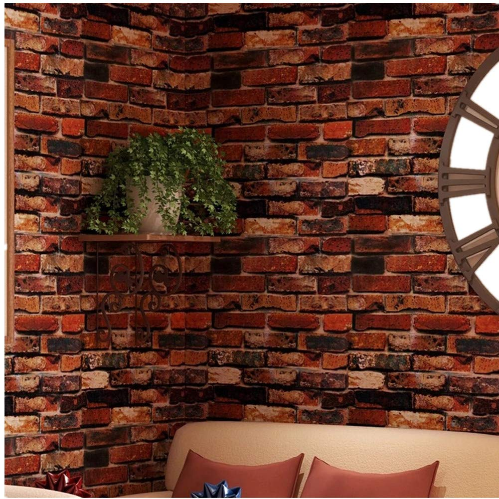 """Yancorp Self-Adhesive Wallpaper Rust Red Brown Brick Contact Paper Fireplace Peel-Stick Wall Stickers Door Stickers Counter Top Liners (18""""x120"""", Rust Red Brick)"""