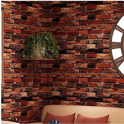 Yancorp Self Adhesive Wallpaper Rust Red Brown Brick Contact Paper