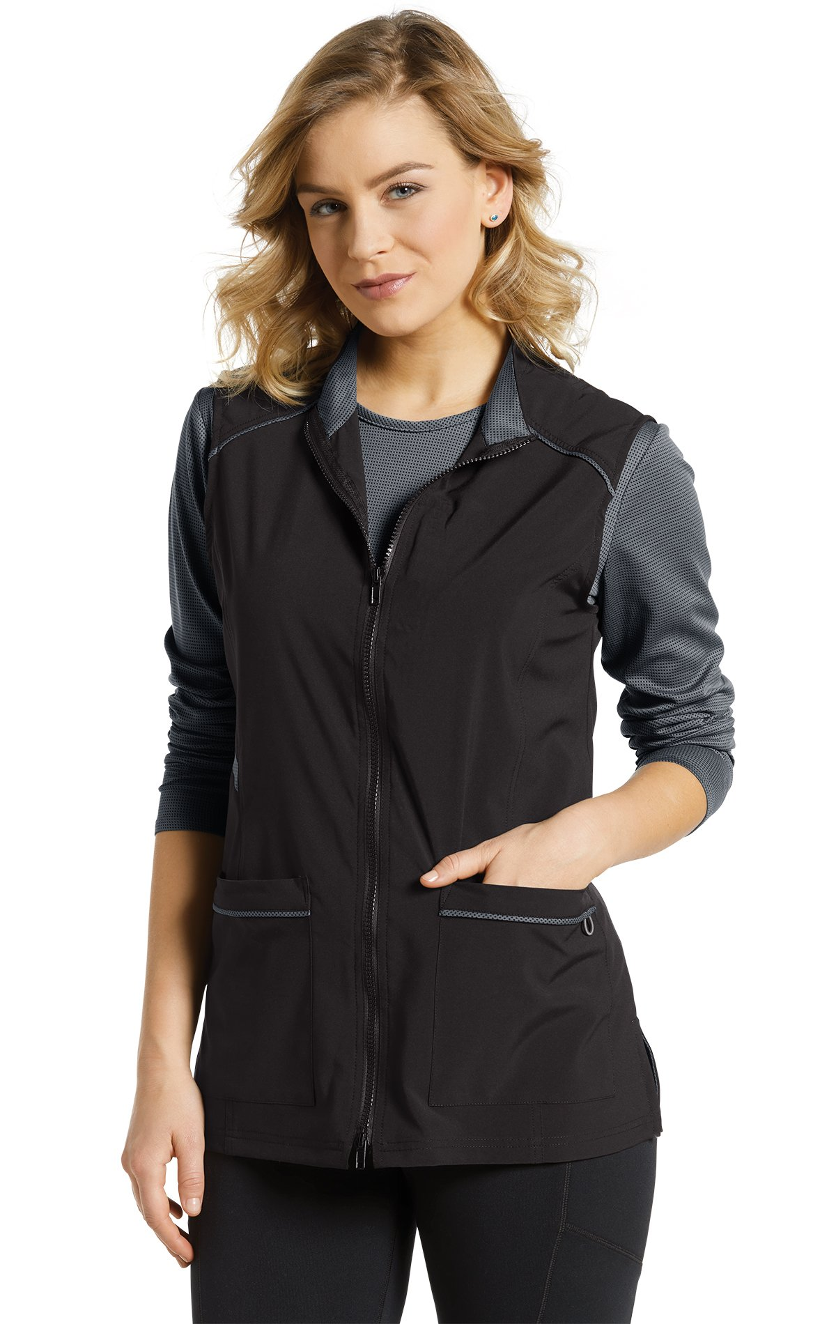 Fit by White Cross Women's 803 Two-Way Zip Front Vest Jacket- Black- X-Large