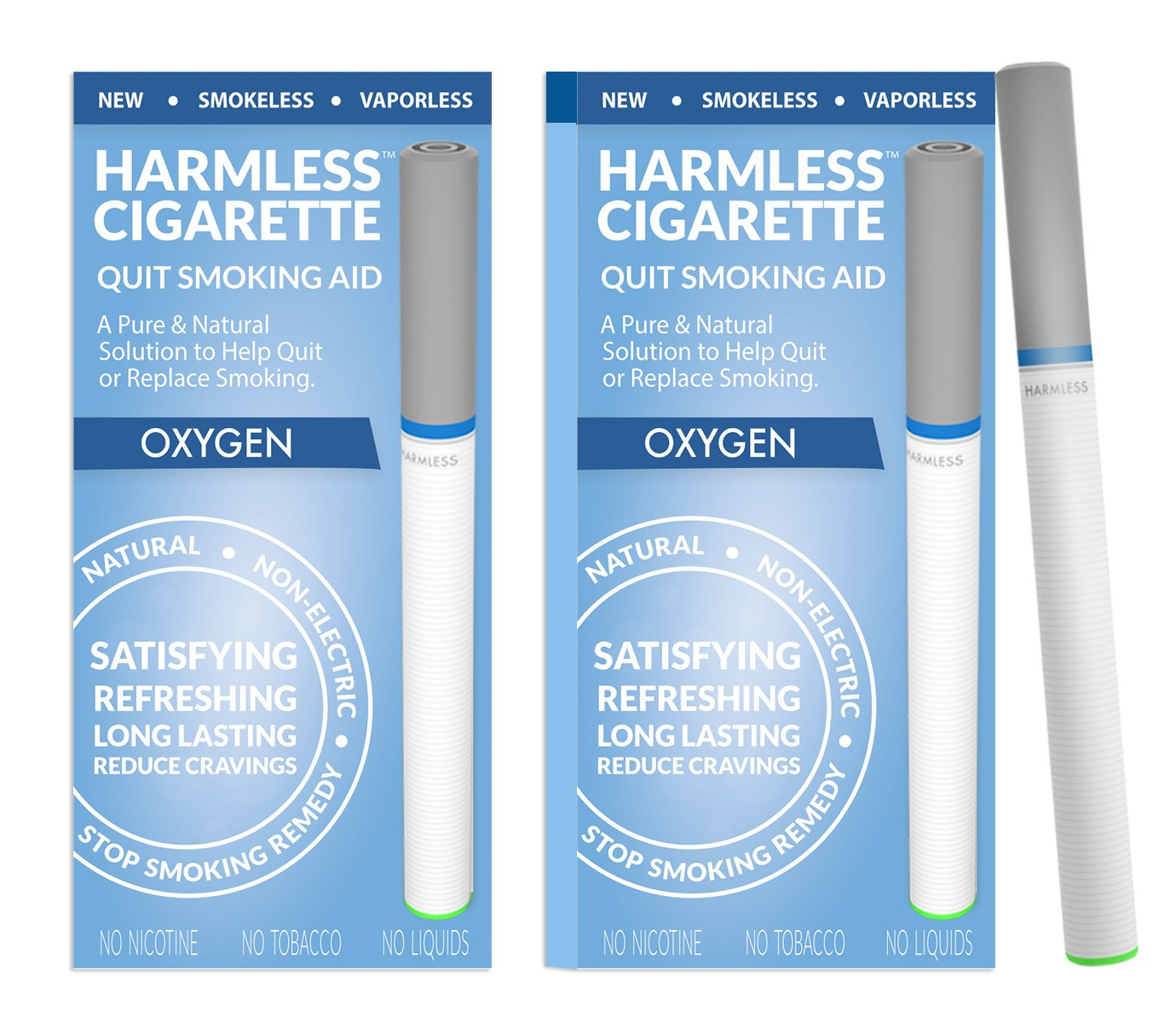Harmless Cigarette 4 Week Quit Kit/Stop Smoking Aid/Includes FREE Quit Smoking Support Guide. (2 Pack, Oxygen 2.0)