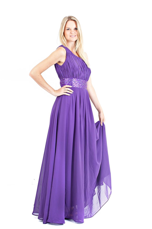 AvaMia, elegante Chiffon Evening dress, one shoulder Kleid
