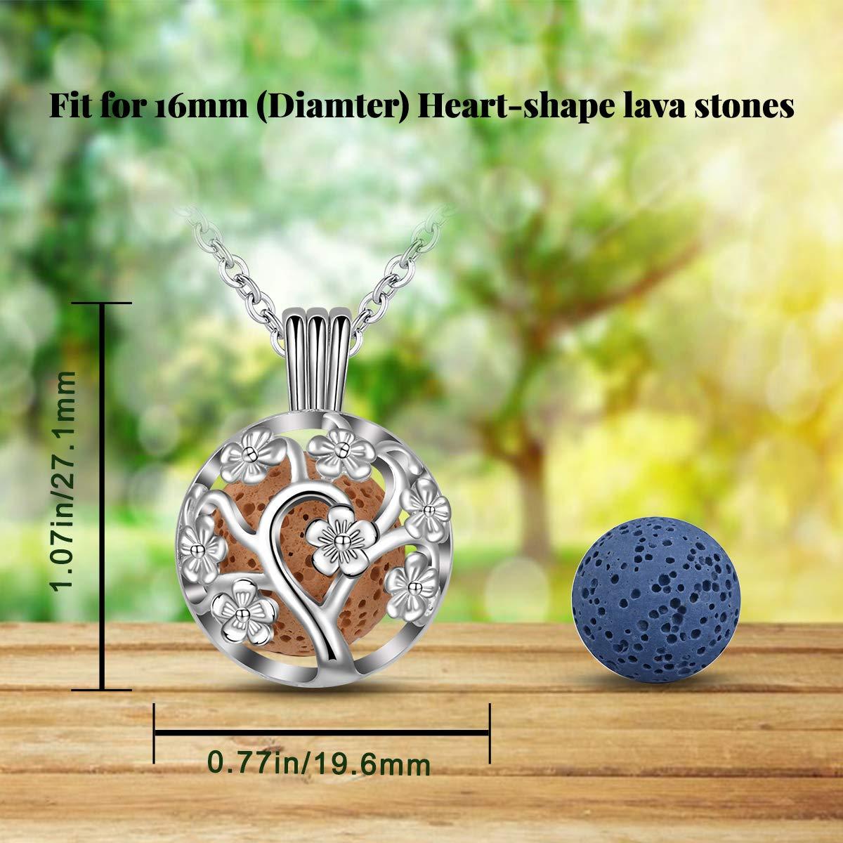 INFUSEU - Collar de aromaterapia de árbol de Sakura, difusor de aceite esencial de 14 mm, colgante con 6 piedras de lava y cadena de 61 cm, ...