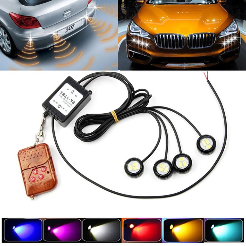 Alonea 4x3W Strobe Flash Eagle Eye LED Car Light Lamp+Wireless Remote Control