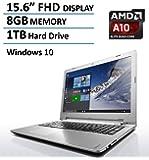 2016 New Edition Lenovo 15.6-inch Full HD High Performance Laptop, 1080p Display, AMD A10-8700P Quad-Core up to 3.2GHz, 8GB DDR3L, 1TB HDD, DVD RW Drive, HDMI, Bluetooth, Webcam, Windows 10 64bit