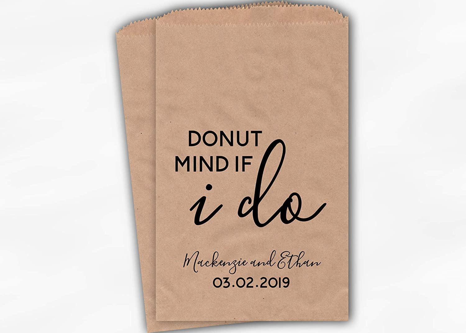 0228 Donut Mind If I Do Wedding Favor Bags for Dessert Buffet in Black and White Personalized Set of 25 Kraft Paper Bags