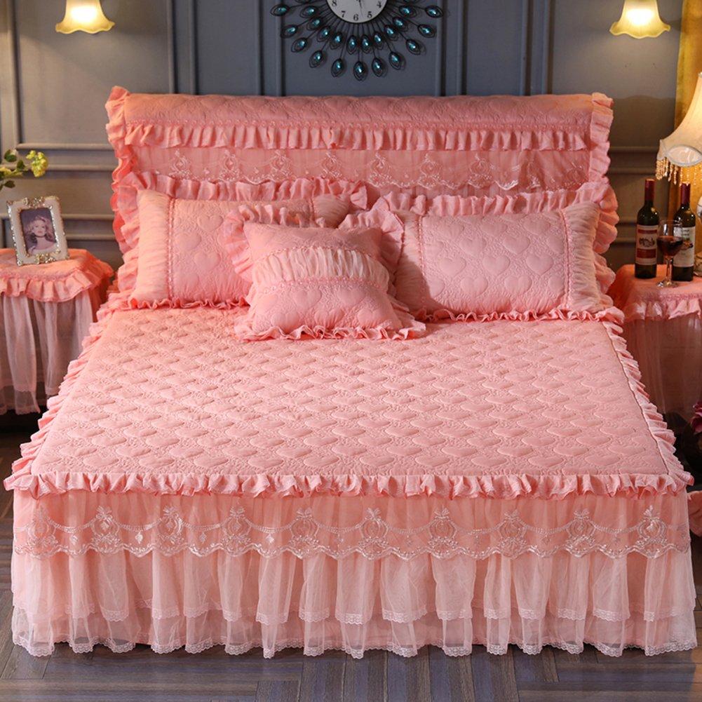 ベッドスカート,キルト綿のベッドはエキストラ ベッド プリンセス レース スリップほこりしわシートをカバーします。-ヒスイ色 180x220cm B07JXZ3QJL ヒスイ色 180x220cm