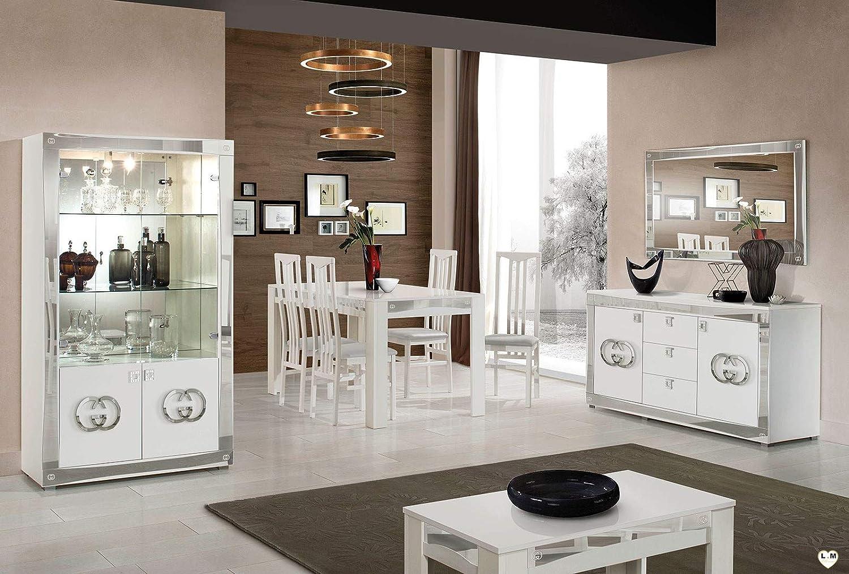 LIGNEMEUBLE GOCCIA - Juego de mesa con vitrina + aparador + espejo + mesa + 4 sillas: Amazon.es: Hogar