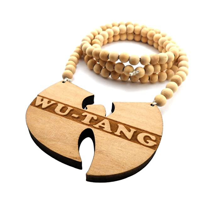 Wu tang clan wood pendant 914cm wooden bead chain hip hop necklace wu tang clan wood pendant 914cm wooden bead chain hip hop necklace in natural tone wj198nl amazon jewellery aloadofball Images