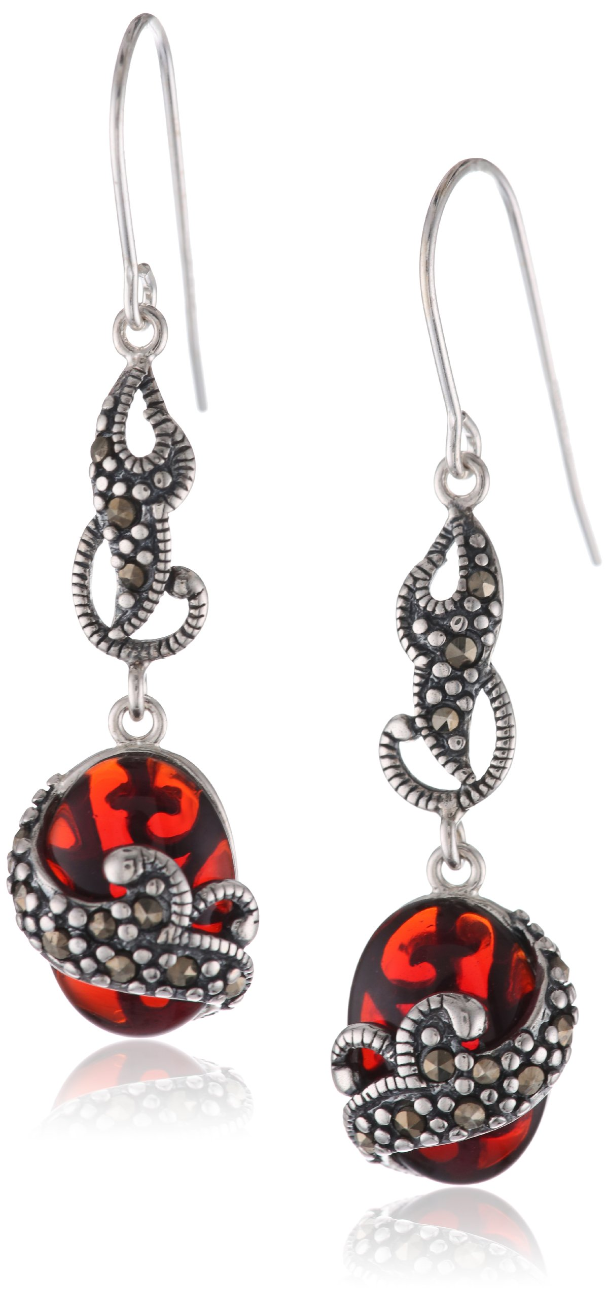 Sterling Silver Oxidized Genuine Marcasite and Red Glass Layered Dangle Earrings