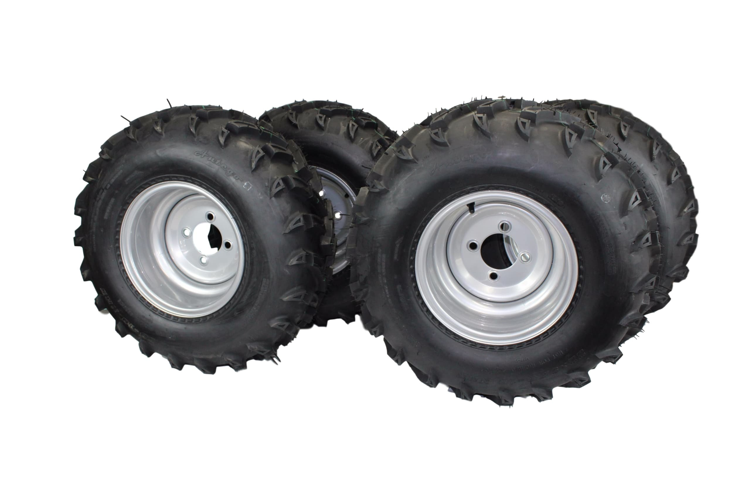 22x9.50-10 with 10x7 Silver Wheels for ATV (Set of 4)