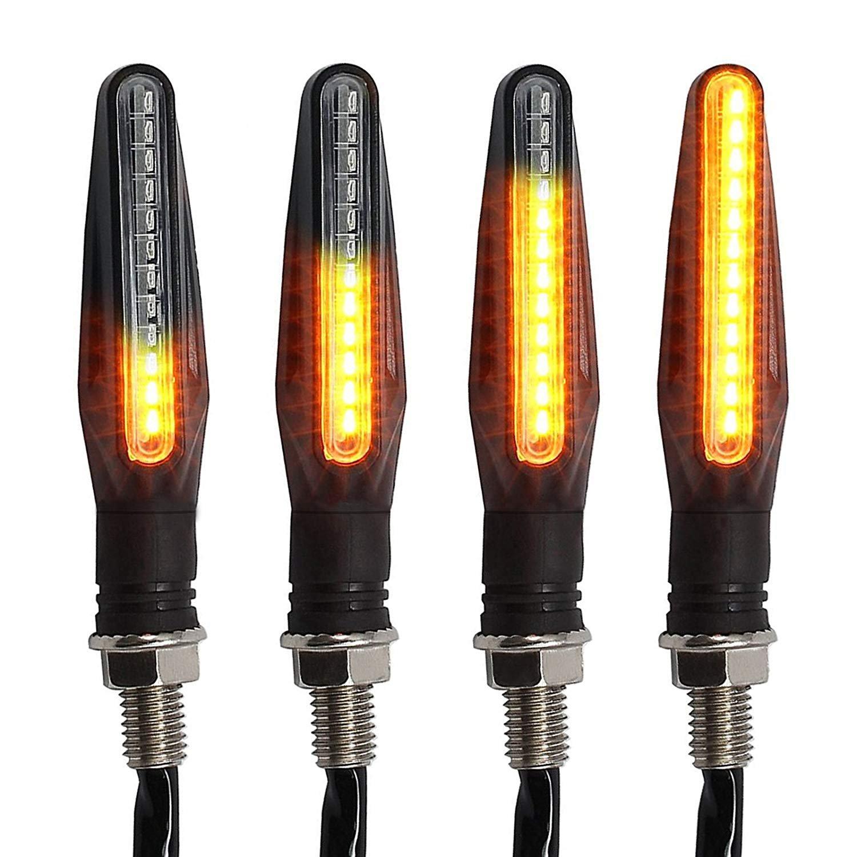 OFNMY 4pcs Clignotants pour Moto - 12 LEDs 12V Clignotant (10.5 * 2cm)