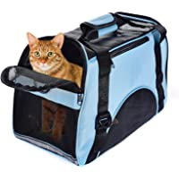 Huanxu Pet Carrier for Small Cat & Dog, Airline Approved Soft-Sided Small Puppy Travel Bag with Mesh Panels and Bed   Perfact forUnder 5 POUND