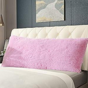 Panku Body Pillow Cover Long Hair PV Fur Body Pillow Case with Zipper Closure Super Soft Body Pillow Pillowcase (21
