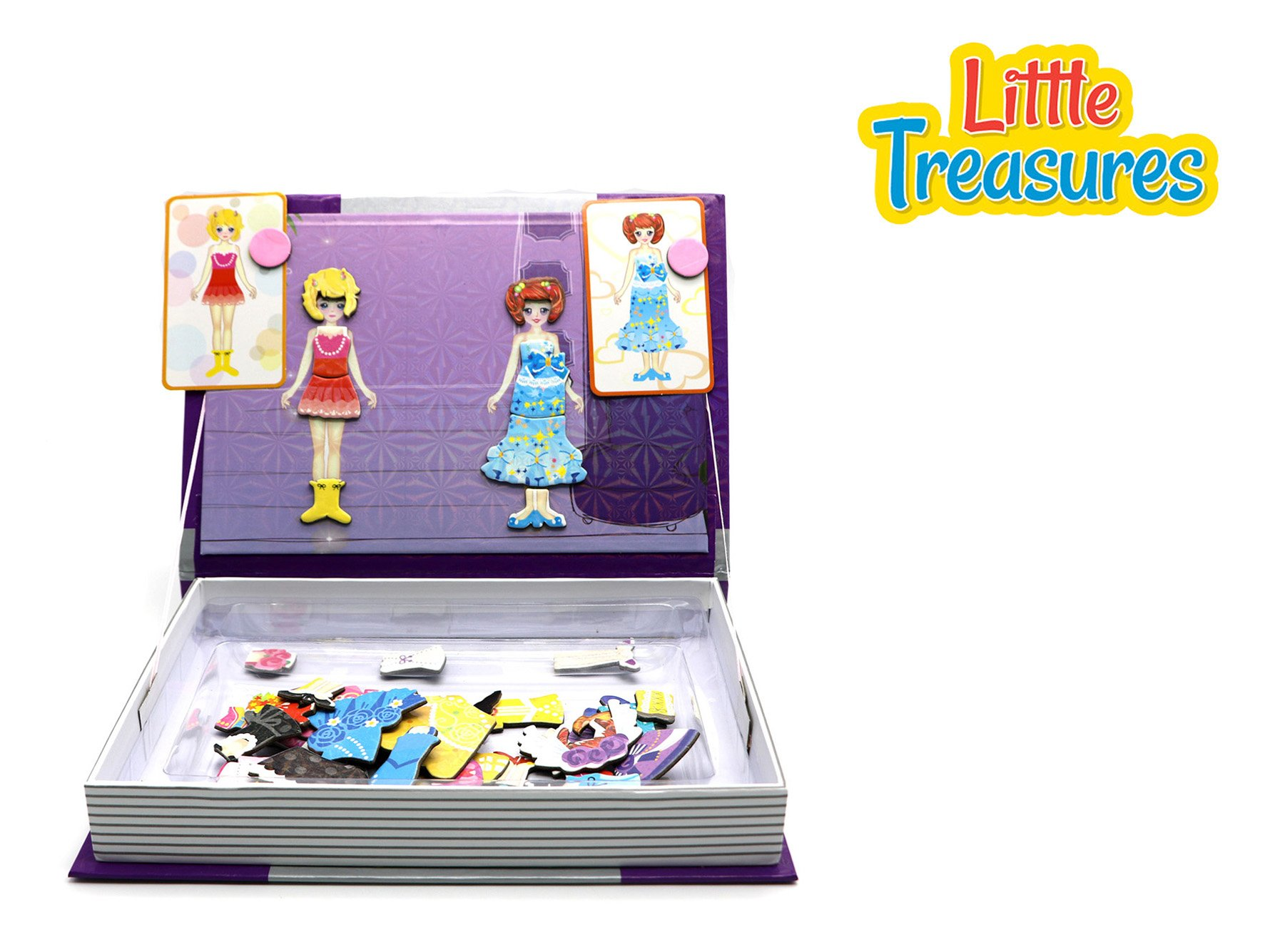Little Treasures 66-Pcs Magnetic Dress-Up Set - Gorgeous Princess Dressup Girl Toy Book for Kids Ages 3 Plus by Little Treasures