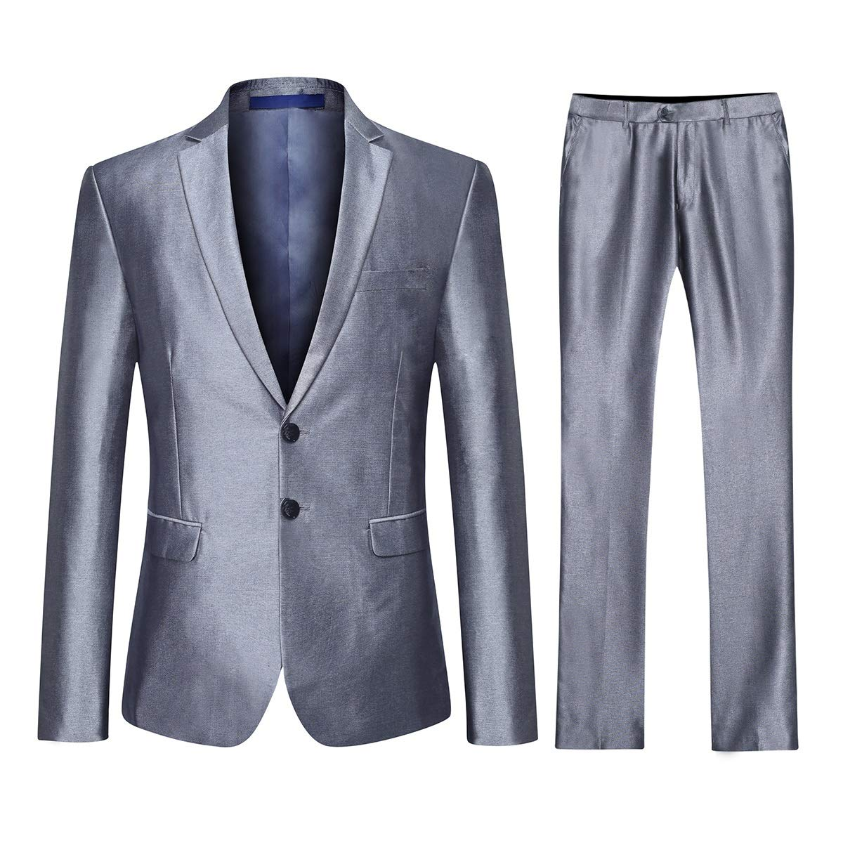 Silber Grau(2 Knopf) YOUTHUP Slim Fit 3 Teilig Herrenanzüge Business Hochzeit Herren Anzug Smoking Sakkos Anzughose und Weste