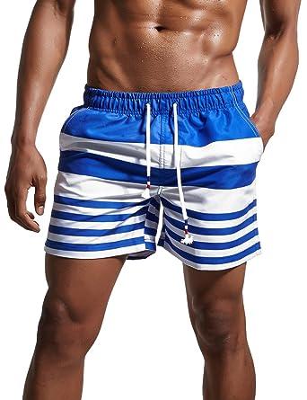771ff179fb72a ChinFun Men's Swimsuit Loose Fit Swim Trunks Watershort Swimwear Drawstring  Stripes Board Shorts Bathing Suits Mesh