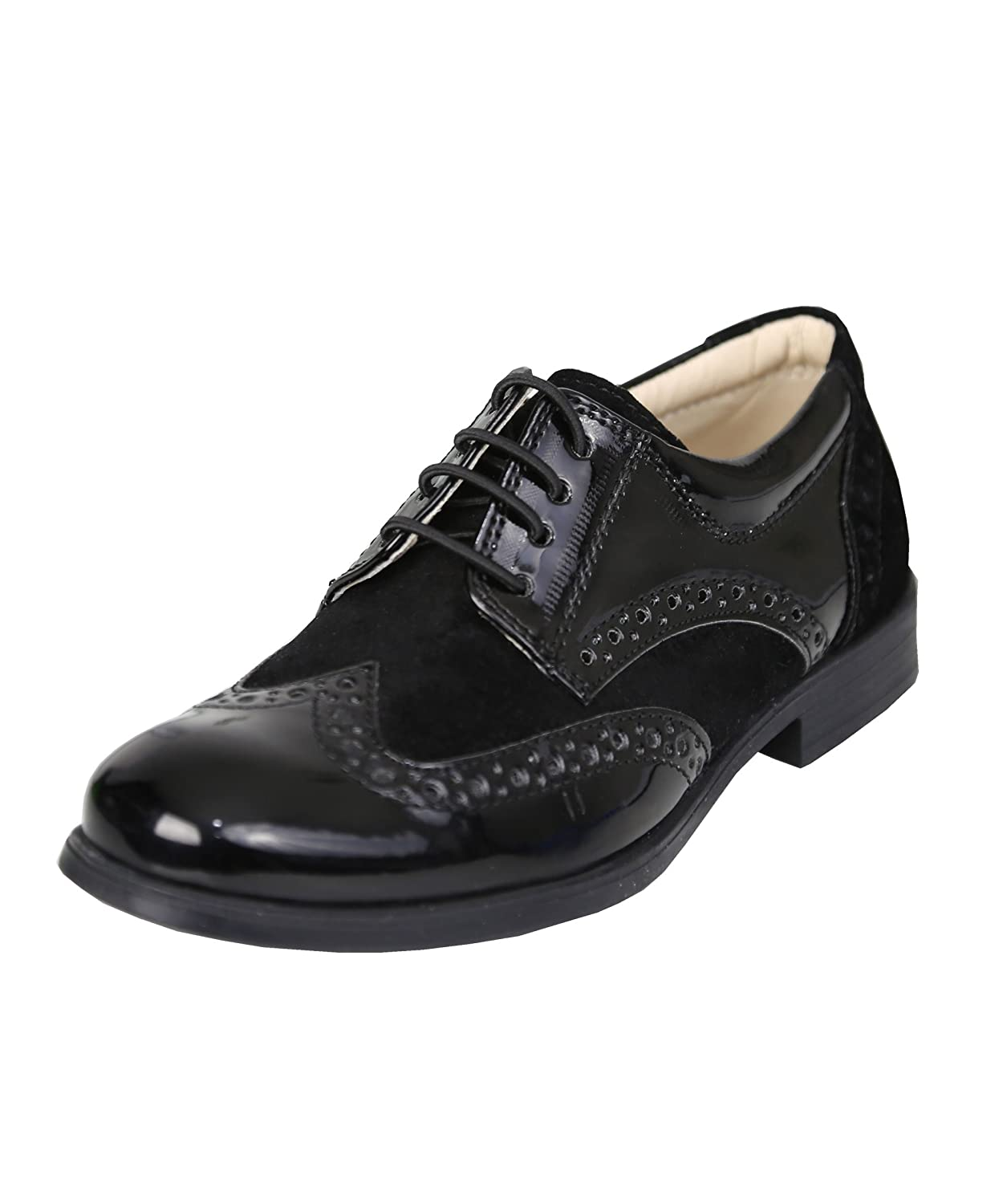 Boys Patent Suede Brogues Formal Wedding Oxford Shoes