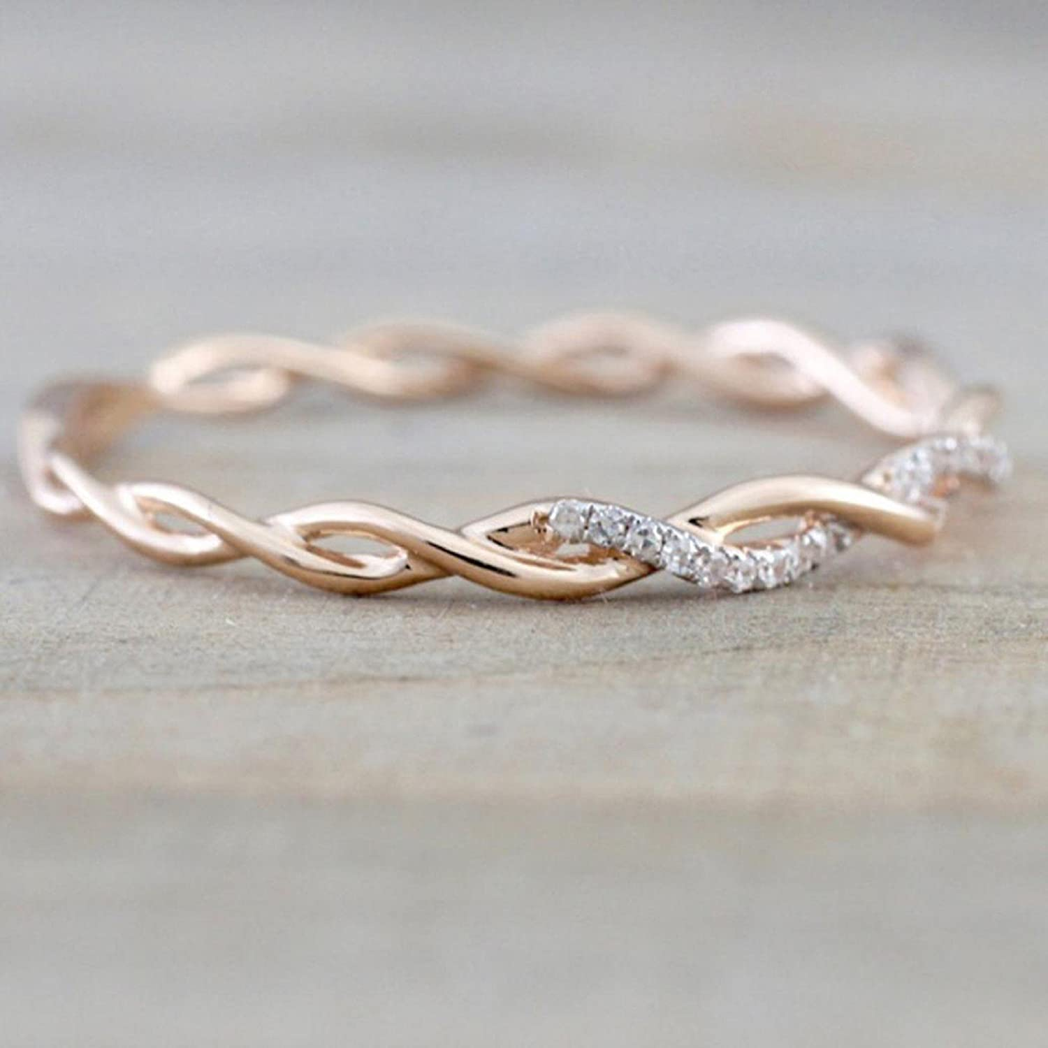 73455cb75a64 Amazon.com  Owill Twisted Shape Diamond Decor Ring Stacking Matching Band  Anniversary Ring Daily Casual Rings (7