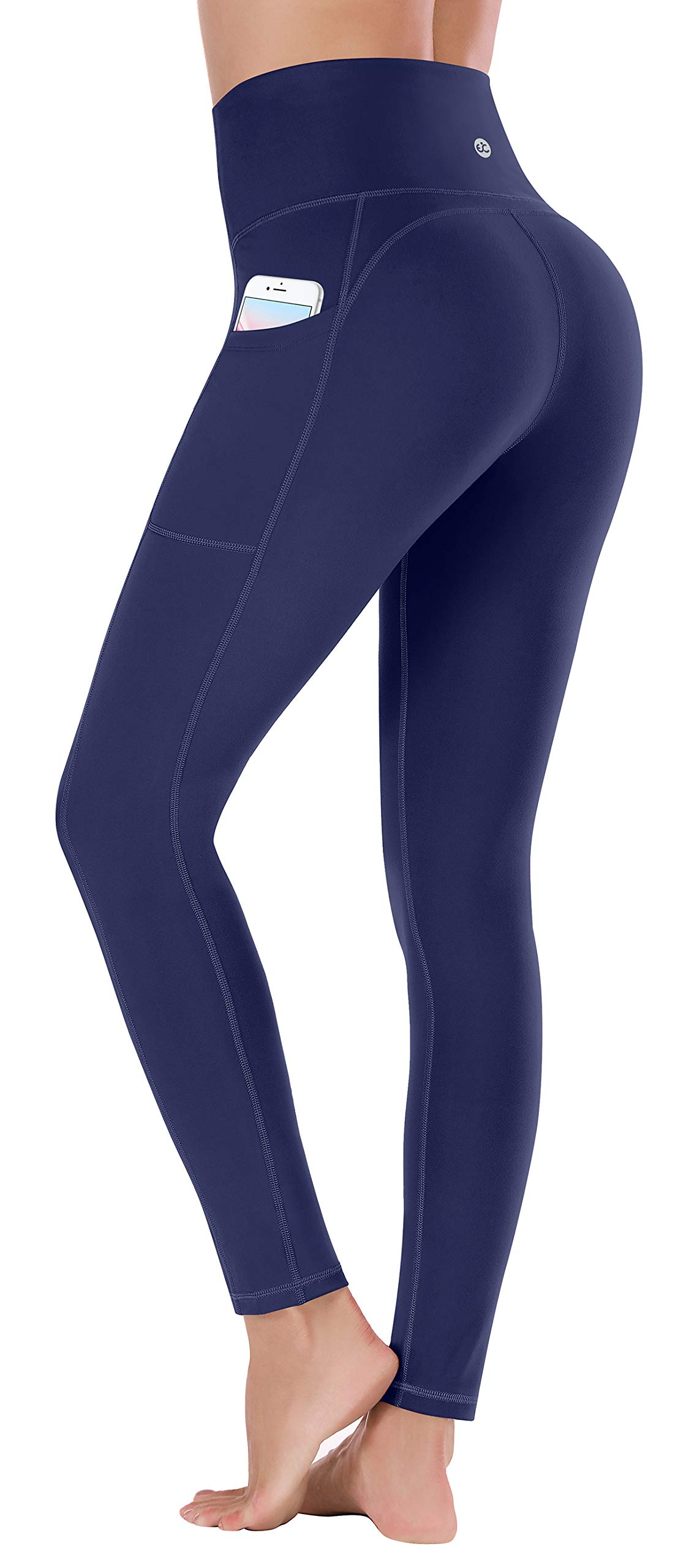 Ewedoos Women's Yoga Pants with Pockets - Leggings with Pockets, High Waist Tummy Control Non See-Through Workout Pants (EW320 NAVY, Medium) by Ewedoos