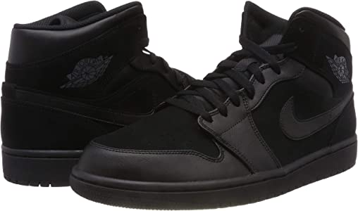 online retailer e7110 5b64b Mens Air Jordan Retro 1 Mid Basketball Shoes Black Dark Grey Black 554724- 050 Size 9.5. Nike Mens Air Jordan Retro 1 Mid Basketball Shoes Black Dark  ...