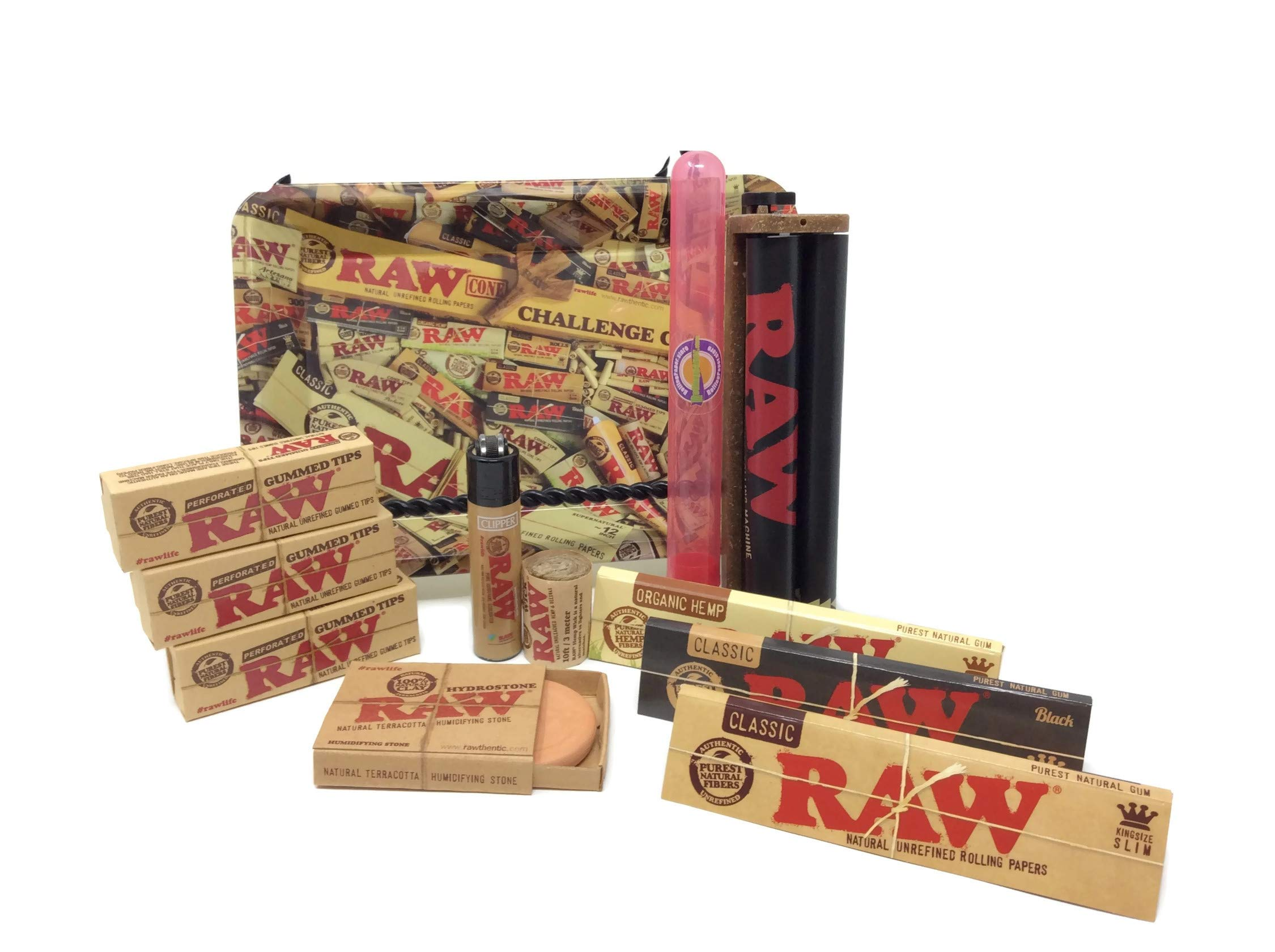 Bundle-12 Items-Raw Everything Mini Tray, Raw 2-Way Roller, 3 Raw King Size Rolling Papers, Raw Gummed Tips, Hydrostone Plus Hemp Wick and Raw Mini Clipper