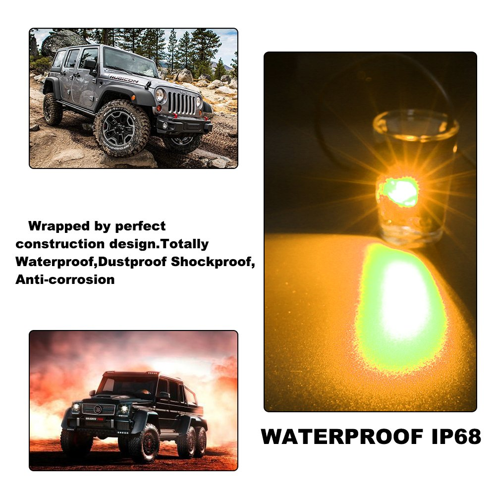 White Catinbow LED Rock Light with 2 Pods Light Waterproof IP68 Car Truck JEEP ATV SUV UTV Offroad Motorcycle Underbody Glow Trail Rig Lights