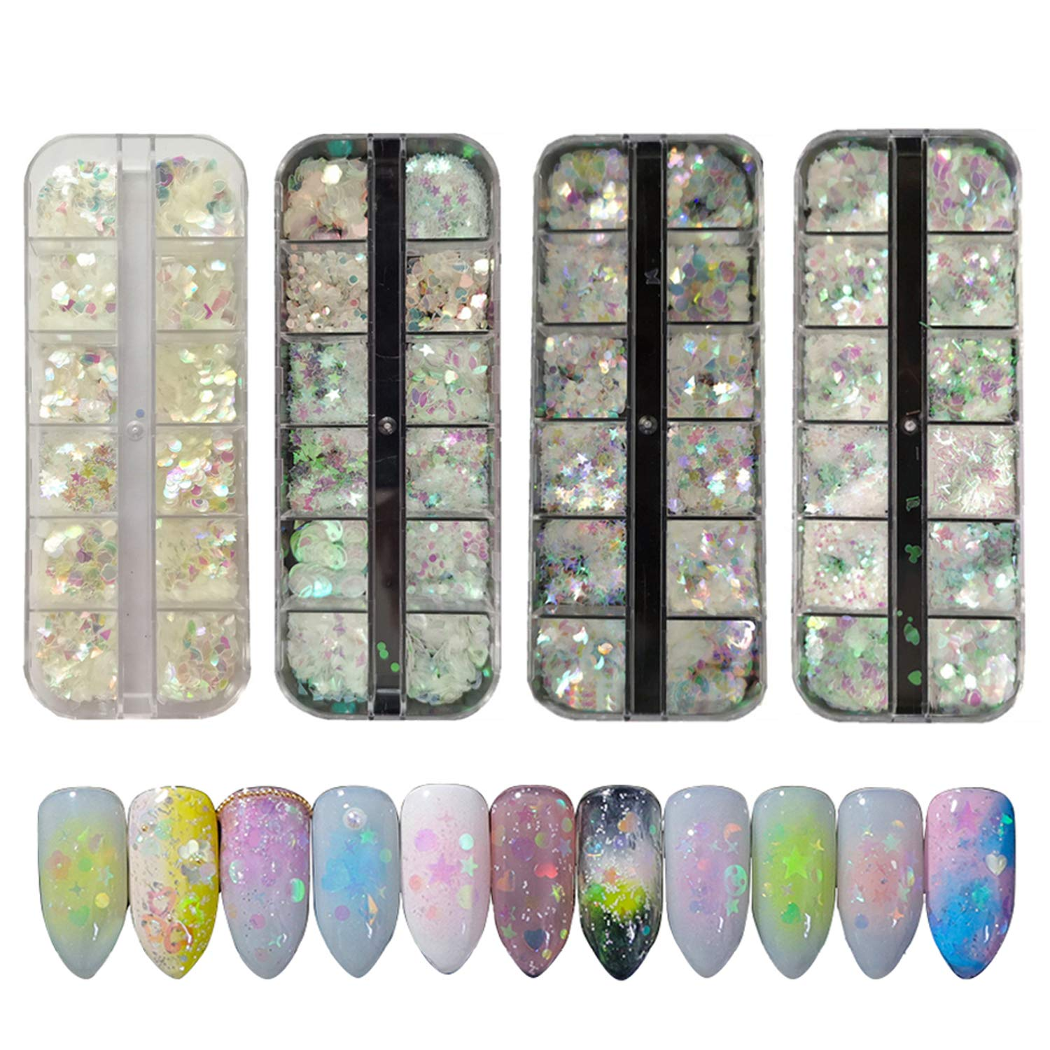 Tingbeauty 48 Boxes Holographic Nail Sequins Iridescent Mermaid Flakes Colorful Nail Art Glitter Sticker Semi-transparent Thin DIY Decals Decoration for Face Hair Body Eyes by Tingbeauty