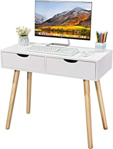 Writing Computer Desk, Laptop Notebook PC Workstation with 2 Drawers, Simple Study Makeup Vanity Table Modern Furniture for Home Office, White