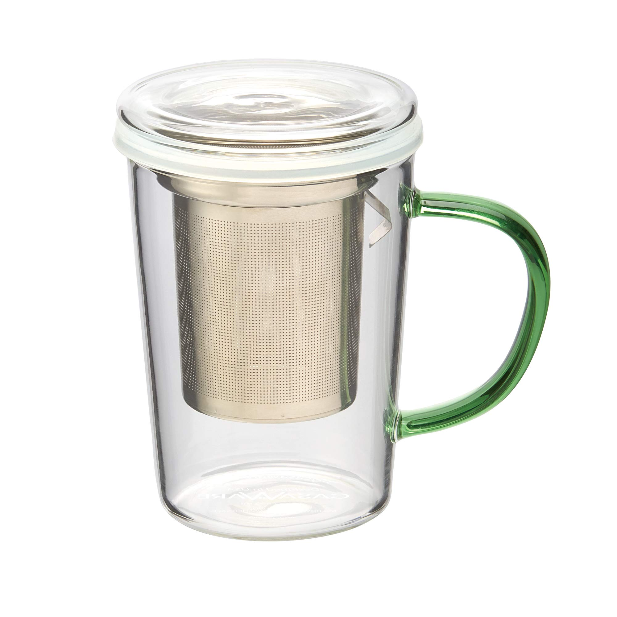 casaWare 18-Ounce Borosilicate Glass Tea Infuser Mug with Lid (Green Handle)