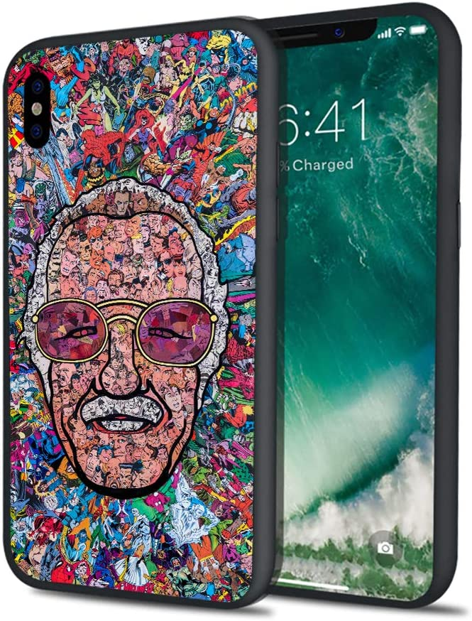 Stan Super Heroes Godfather Lee Famous Comics Writer Design Memorial Colorful Style Hard PC Cover Protective Case for iPhone 6 6s 7 8 Plus X XS XS Max XR (iPhone XR)
