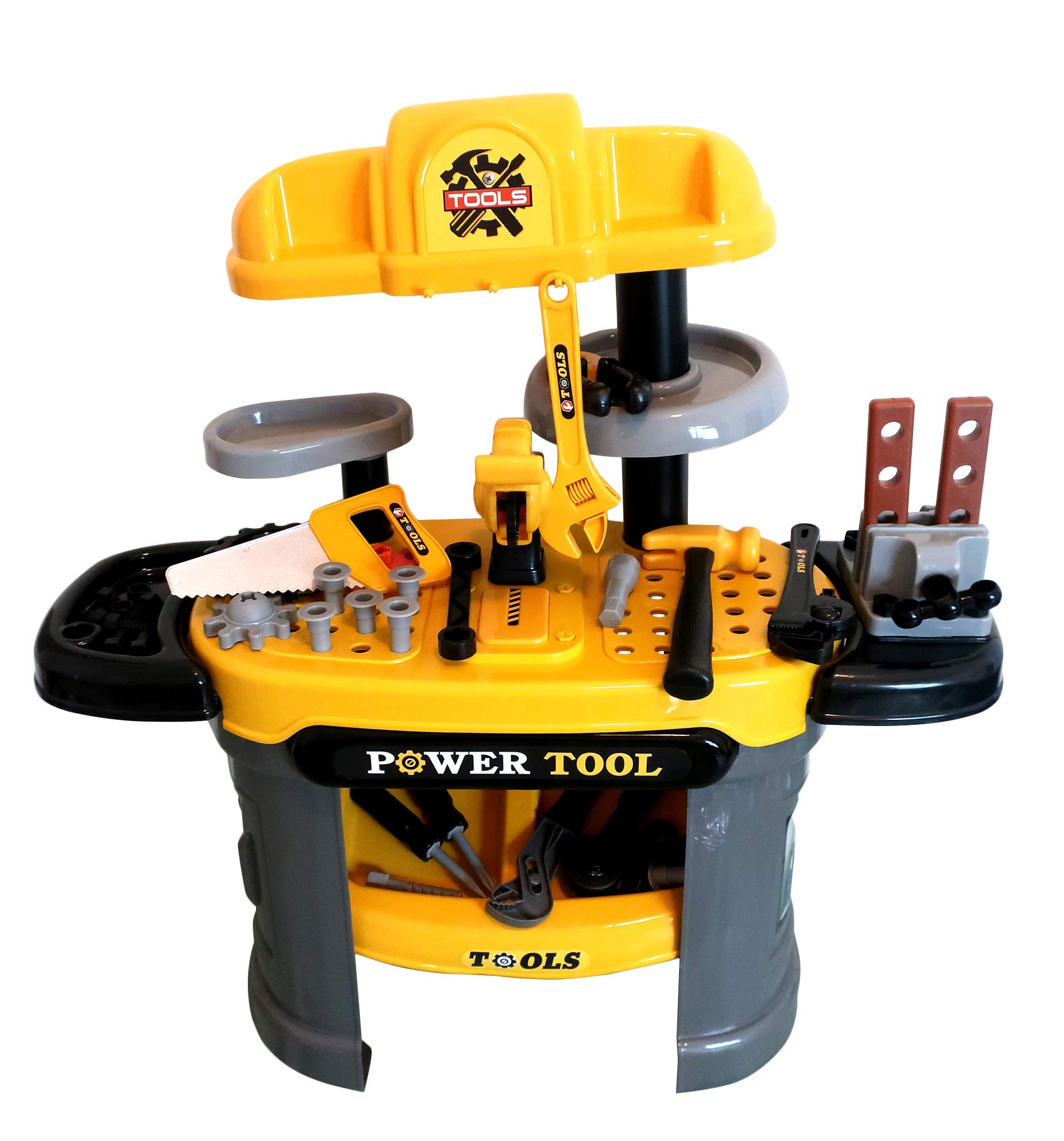Forest & Twelfth Kids Deluxe Tool Set for Kids - 50 Piece Children's Tool Bench Toy Work Bench with Tools and Accessories - Realistic Action - 66L x 30W x 68H cm